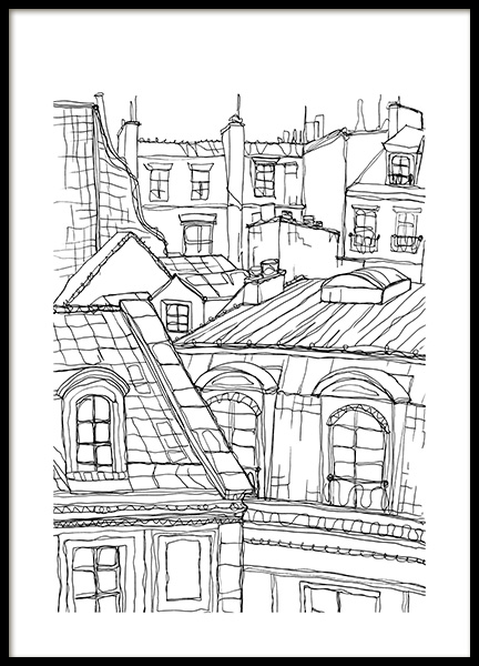 Roof Tops in Paris Poster in the group Prints / Black & white at Desenio AB (12922)