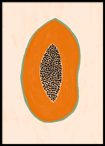 Papaya Illustration Poster in the group Prints / Illustrations at Desenio AB (13106)