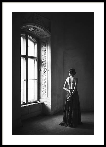 Woman By Window Poster in the group Prints / Black & white at Desenio AB (13133)