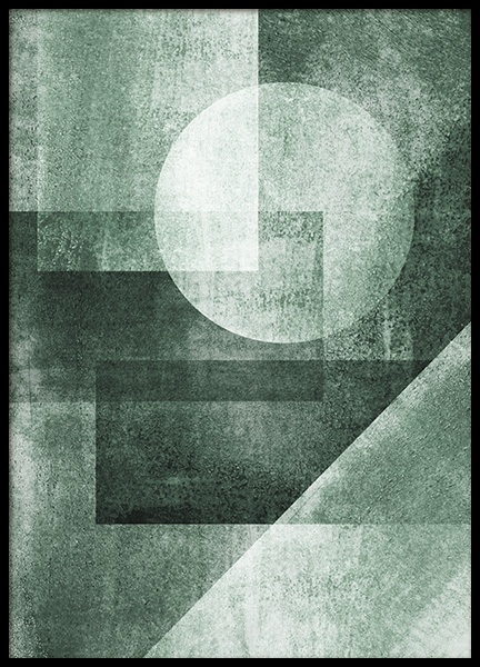 Graphic Green Shapes Poster in the group Prints / Art prints at Desenio AB (13155)