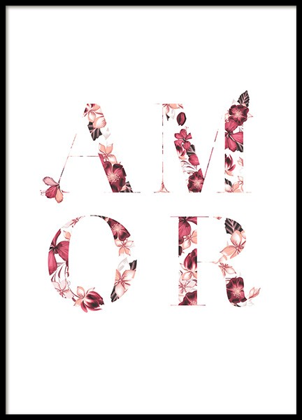 Floral Amor Poster in the group Prints / Text posters at Desenio AB (13229)