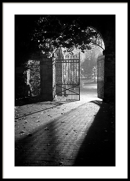 Gate at Night Poster in the group Prints / Black & white at Desenio AB (13262)