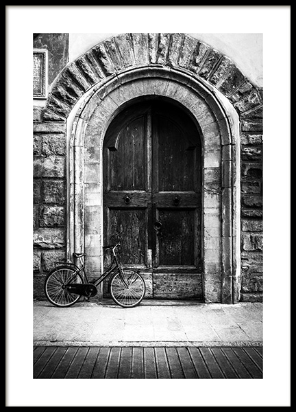 Bike and Arched Door Poster in the group Prints / Black & white at Desenio AB (13263)