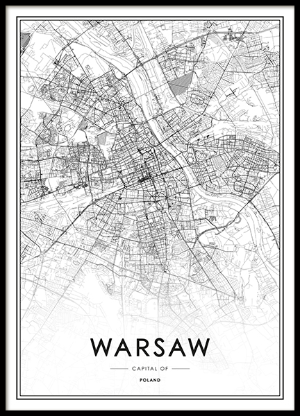 Warsaw Map Poster in the group Prints / Black & white at Desenio AB (13339)