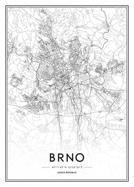 Brno Map Poster in the group Prints / Black & white at Desenio AB (13342)