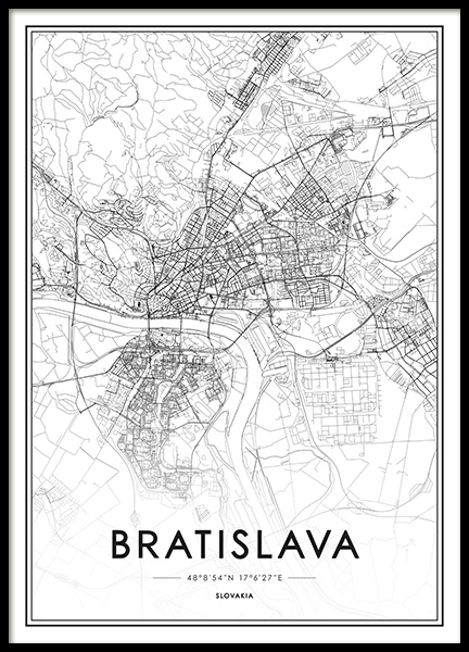 Bratislava Map Poster in the group Prints / Black & white at Desenio AB (13343)