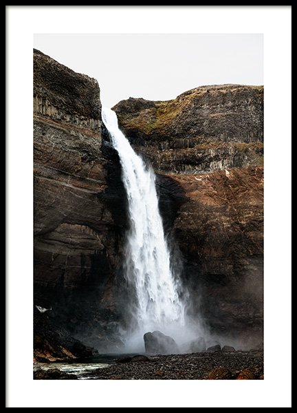 Haifoss Waterfall Poster in the group Prints / Nature at Desenio AB (13353)