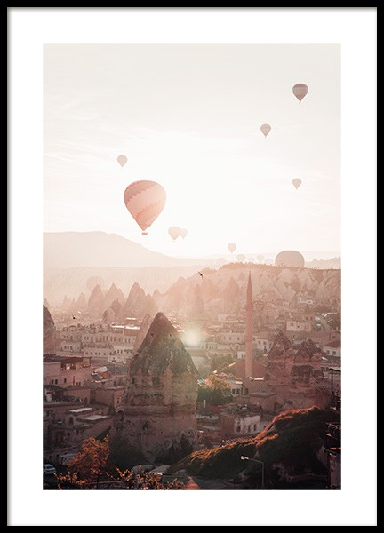Air Balloons in Cappadocia Poster in the group Prints / Maps & cities / European cities at Desenio AB (13385)