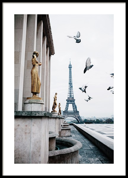 Eiffel Tower and Flying Pigeons Poster in the group Prints / Maps & cities / European cities / Paris prints at Desenio AB (13387)