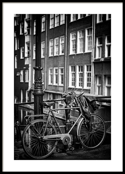 Parked Bicycle Poster in the group Prints / Photographs / Black & white photography at Desenio AB (13397)