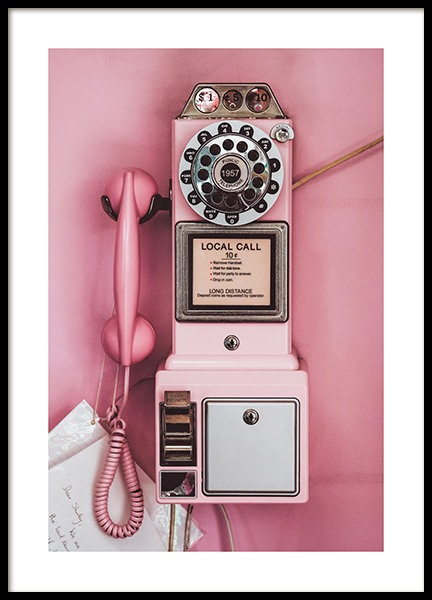 Pink Pay Phone Poster in the group Prints / Retro & vintage at Desenio AB (13404)