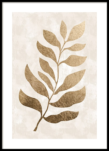 Golden Leaf Poster in the group Prints / Graphical at Desenio AB (13439)