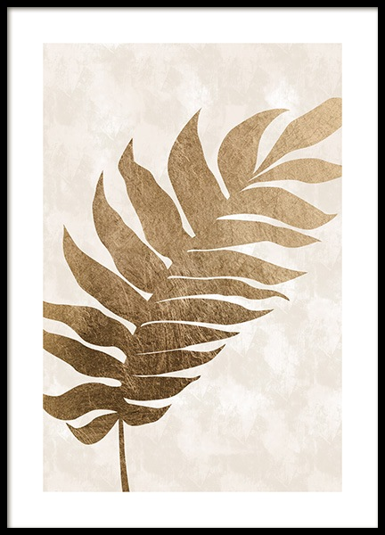 Golden Tropical Leaf Poster in the group Prints / Graphical at Desenio AB (13442)