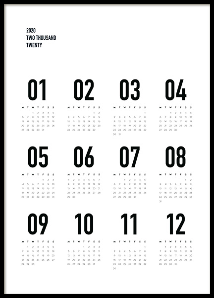 Calendar 2020 B&W Poster in the group Prints / Text posters / Calendars 2020 at Desenio AB (13499)