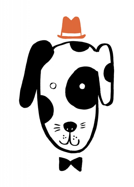 Dog in a Hat Poster in the group Prints / Kids / Animal illustrations at Desenio AB (13507)
