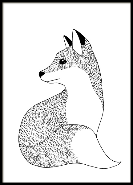 Little Fox Illustration Poster in the group Prints / Kids / Animal illustrations at Desenio AB (13510)
