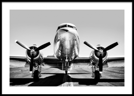 Vintage Airplane Poster in the group Prints / Photographs / Black & white photography at Desenio AB (13630)