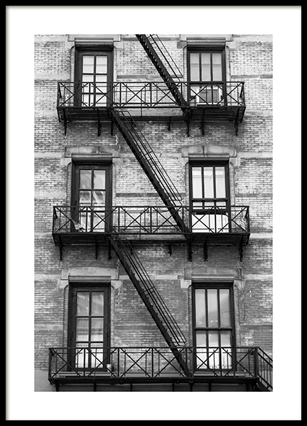 NY Fire Escape Poster in the group Prints / Maps & cities / World Cities at Desenio AB (13655)