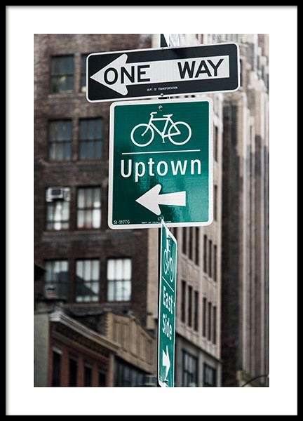 Uptown Poster in the group Prints / Maps & cities / World cities / New York wall art at Desenio AB (13657)