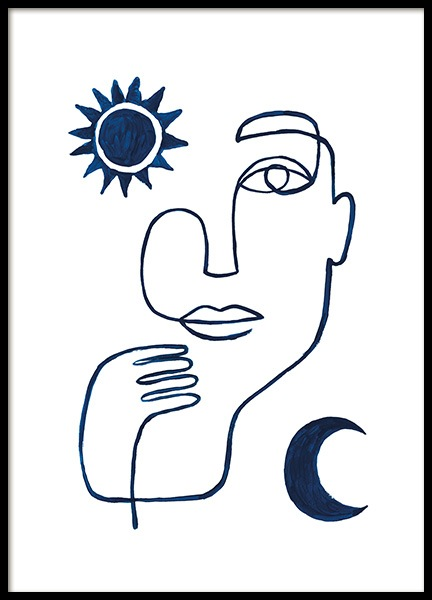 Abstract Face in Blue Poster in the group  / Minimalist Art at Desenio AB (13664)