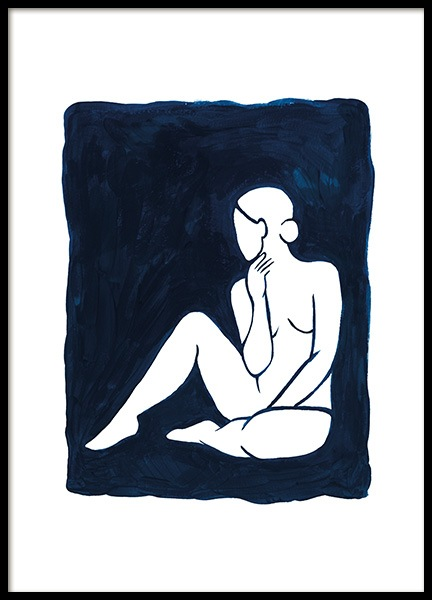 Woman in Blue Poster in the group Prints / Art prints / Minimalist Art at Desenio AB (13665)