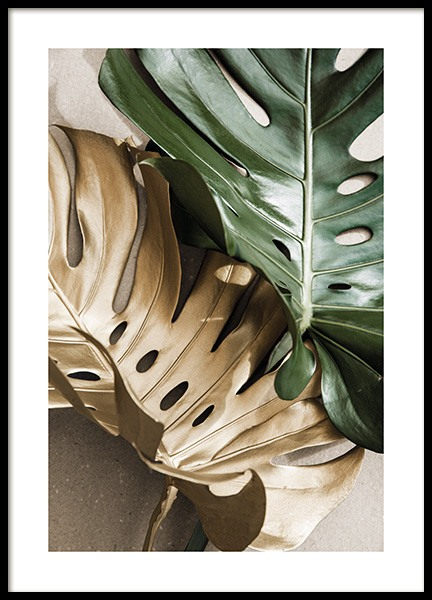 Gold Monstera No2 Poster in the group Prints / Botanical / Monsteras at Desenio AB (13668)