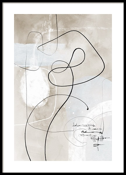 Soft Abstract Lines No1 Poster in the group Prints / Art prints / Abstract art at Desenio AB (13675)