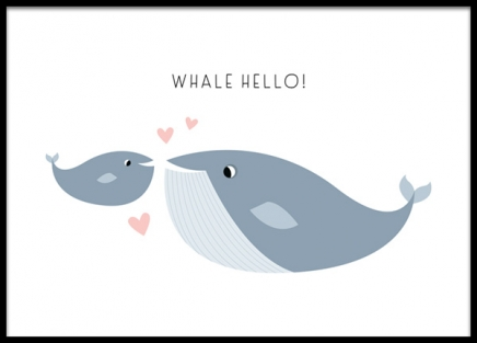 Whale Hello There Poster in the group Prints / Kids / Animal illustrations at Desenio AB (13712)