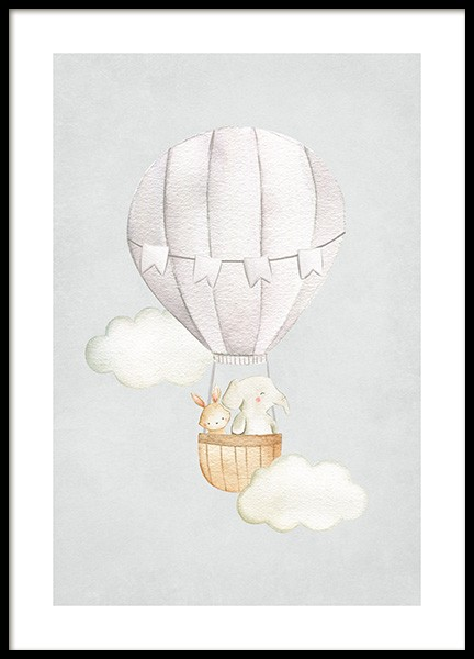 Hot Air Balloon No1 Poster in the group Prints / Kids wall art / Animal illustrations at Desenio AB (13715)