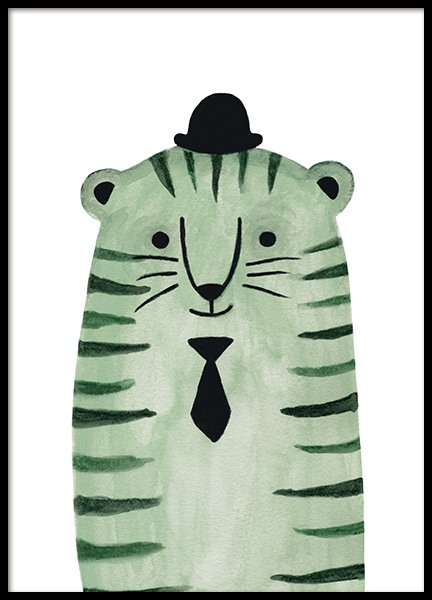 Green Tiger Poster in the group Prints / Kids wall art / Animal illustrations at Desenio AB (13722)