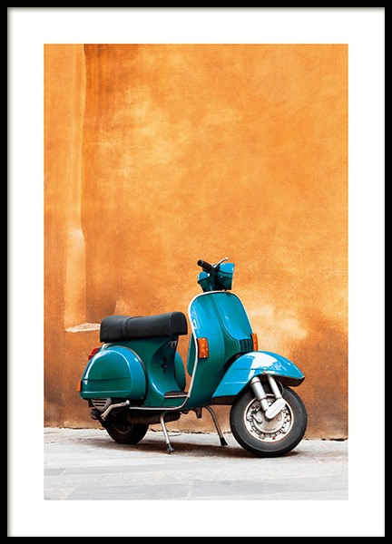 Blue Scooter Poster in the group Prints / Photographs at Desenio AB (13747)