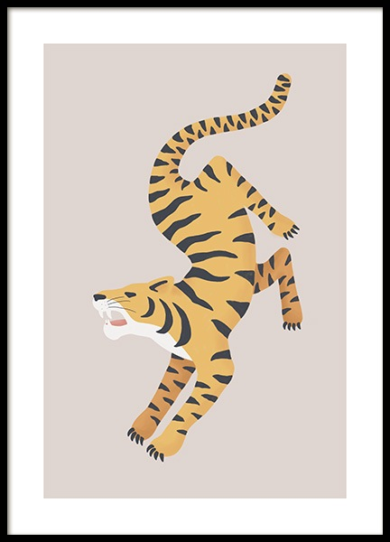 Turning Tiger Poster in the group Prints / Animals at Desenio AB (13782)