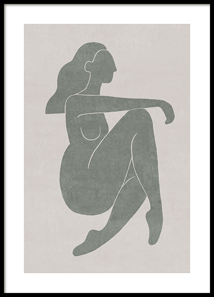 Seated Pose Green No2 Poster in the group Prints / Illustrations at Desenio AB (13800)