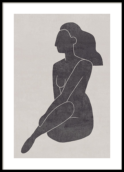 Seated Pose Black No2 Poster in the group Prints / Illustrations at Desenio AB (13802)