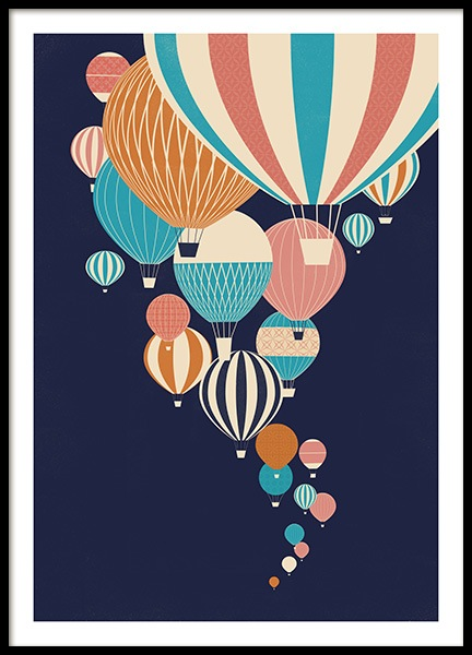 Balloons in the Sky Poster in the group Prints / Kids / Kids' posters at Desenio AB (13925)