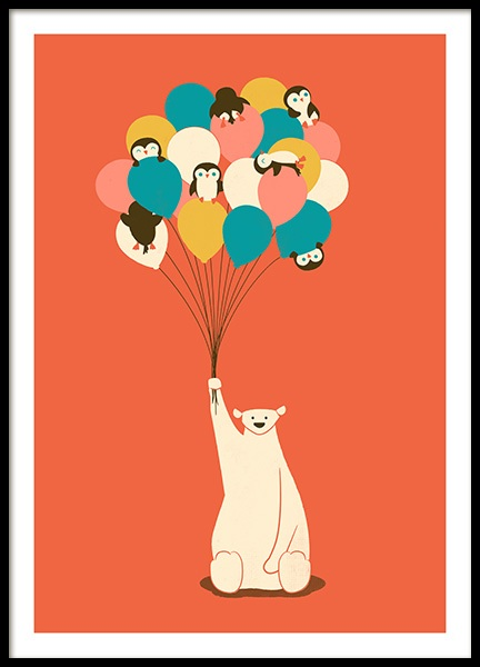 Penguin Bouquet Poster in the group Prints / Kids / Animal illustrations at Desenio AB (13930)