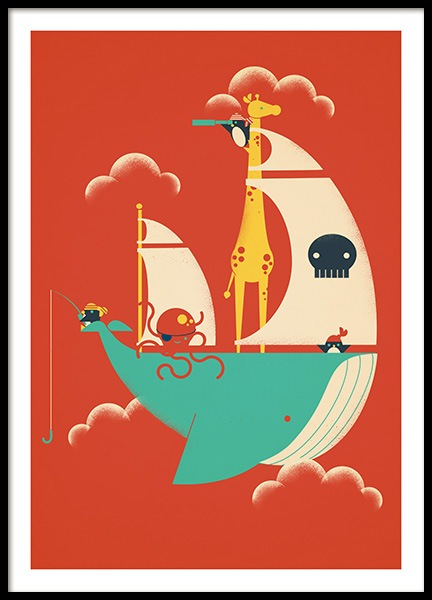 Voyage Poster in the group Prints / Kids wall art / Animal illustrations at Desenio AB (13933)