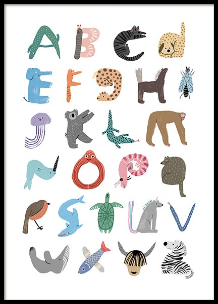 ABC of Animals Poster in the group Prints / Kids wall art / Alphabet at Desenio AB (13937)