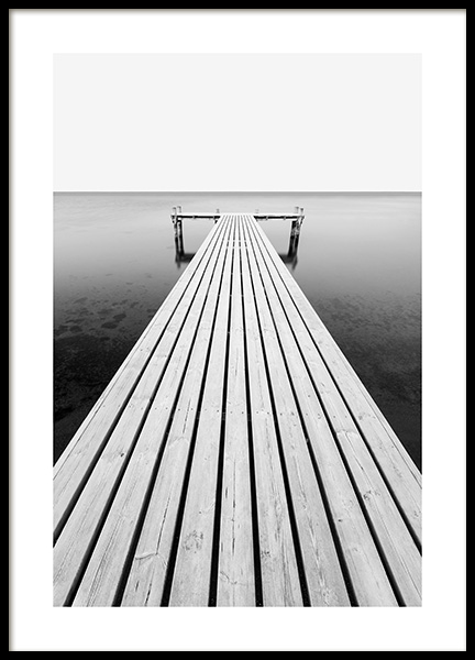 Jetty at Sea Poster in the group Prints / Photographs / Black & white photography at Desenio AB (13960)
