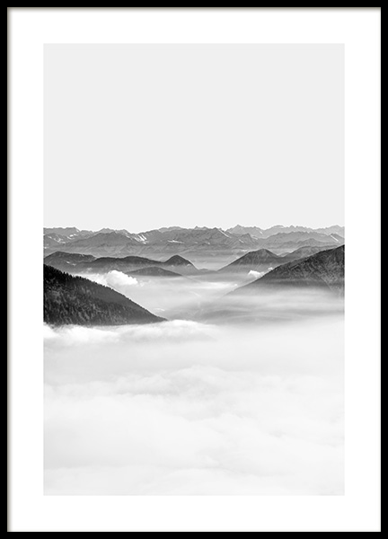 Black and White Alps Poster in the group Prints / Nature / Mountains at Desenio AB (13961)