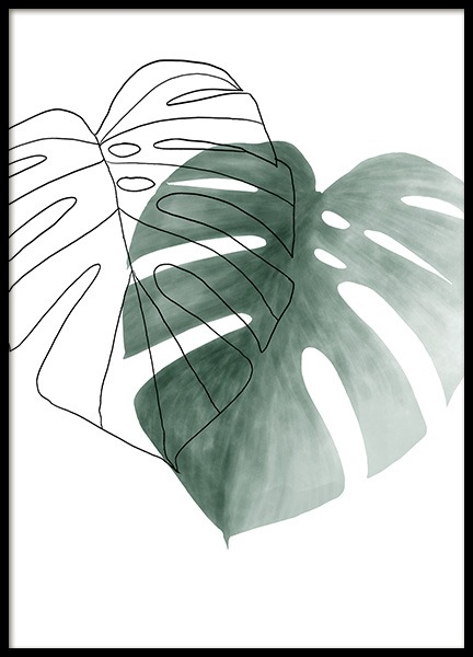 Watercolor Leaves No2 Poster in the group Prints / Botanical / Monsteras at Desenio AB (13990)