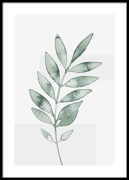 Watercolor Leaves No4 Poster in the group Prints / Botanical / Green plants at Desenio AB (13992)