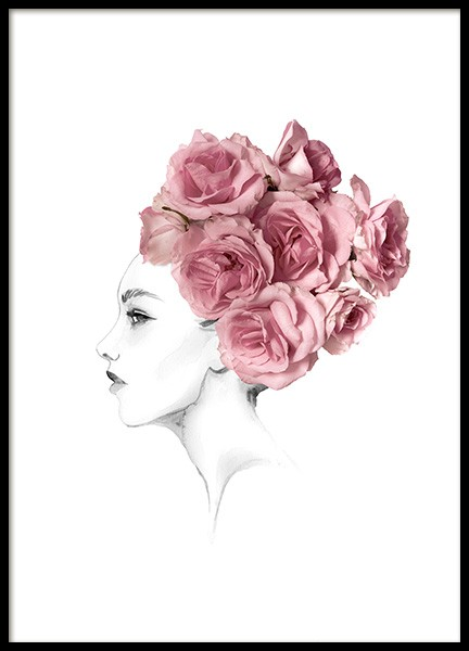 Rose Hairbun Poster in the group Prints / Illustrations at Desenio AB (14046)