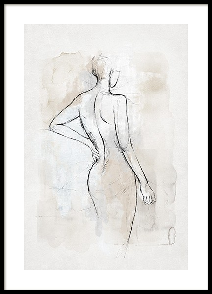 Abstract Body Sketch No2 Poster in the group Prints / Art prints / Watercolour paintings at Desenio AB (14056)