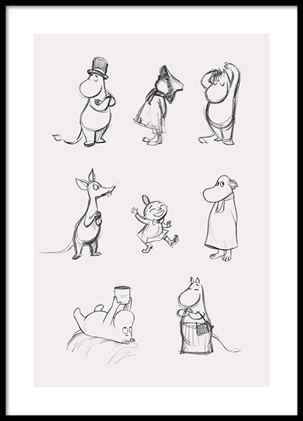 Moomin Characters No1 Poster in the group Prints / Kids wall art / Moomin at Desenio AB (14063)