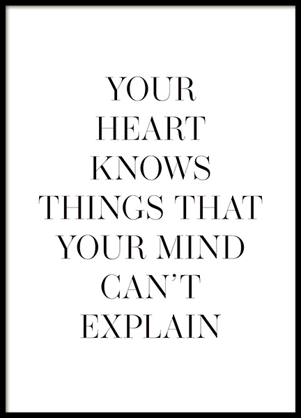 Your Heart Knows Poster in the group Prints / Text posters at Desenio AB (14143)