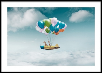 Airplane With Balloons Poster in the group Prints / Kids at Desenio AB (14160)