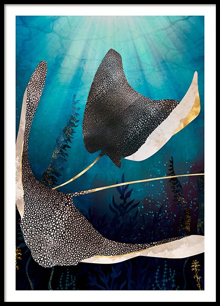 Metallic Stingray Poster in the group Prints / Art prints at Desenio AB (14198)