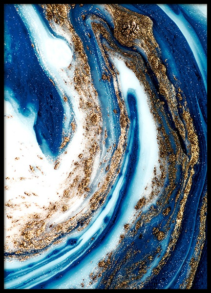 Blue and Gold Swirl No1 Poster in the group Prints / Art prints / Paintings at Desenio AB (14201)