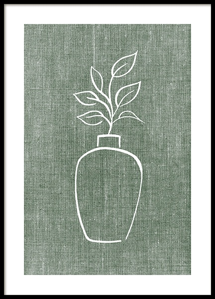 Green Linen Vase Poster in the group Prints / Botanical / Green plants at Desenio AB (14263)